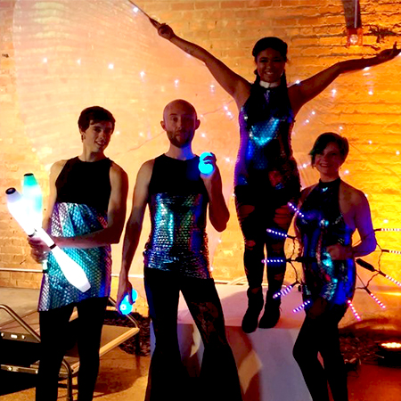 Fire and light performing artists - LED Entertainment