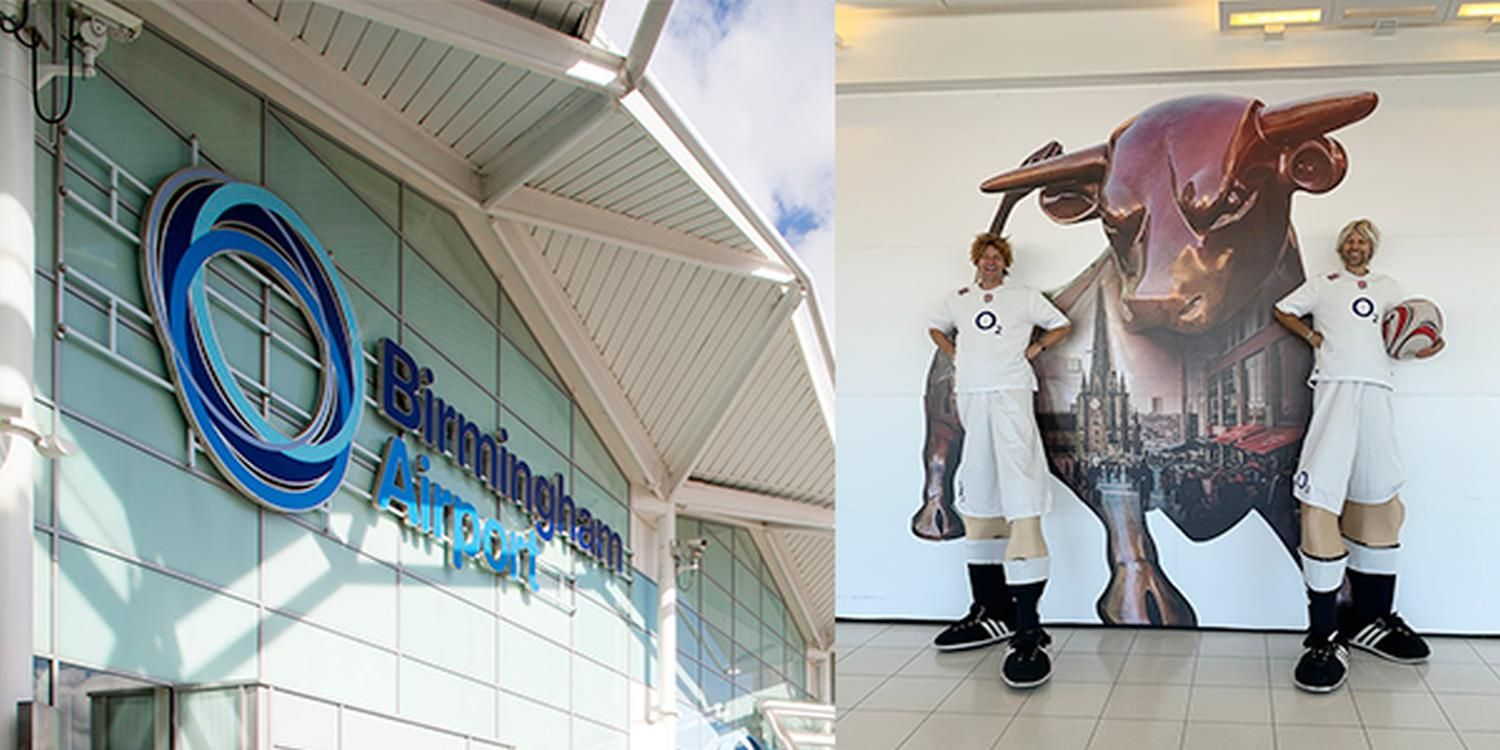 Stilt Walkers Celebrated The World Cup Kickoff With Rugby Fans At Birmingham Airport