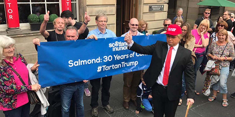 Donald Trump Impersonator Meets Alex Salmond