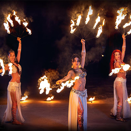 V Project - Female fire dancers