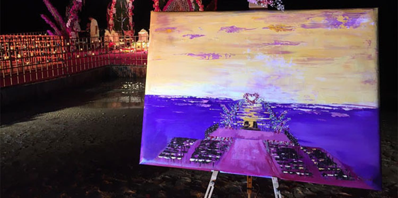Live Wedding Painter Captures Mauritian Sunset