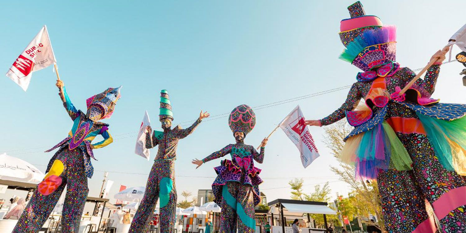 Stilt Walkers Strut Their Stuff at the Dubai Shopping Festival