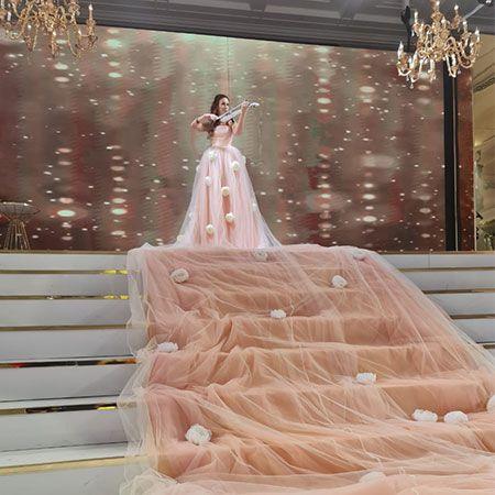 Custom Creations - Cascading Violin Dress Dubai