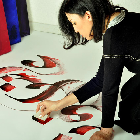 Faouzia Hilmy - Live Event Arabic Calligraphy