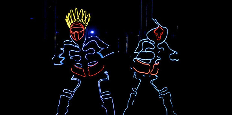 Futuristic Dancers Light Up Shopping Centre