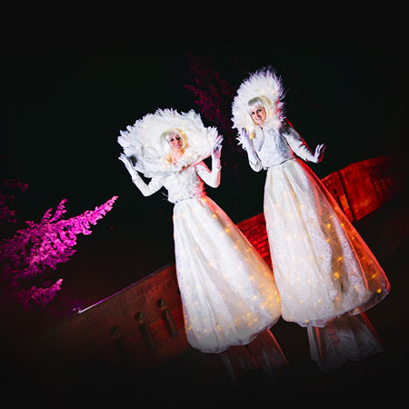 Crystal Moon Stilt Walkers (Winter) - In House Production