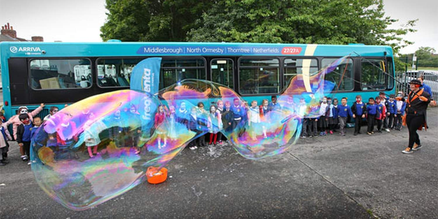 Bubble Fun At Arriva 27/27A Bus Launch