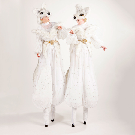 Snow Fox Stilt Characters