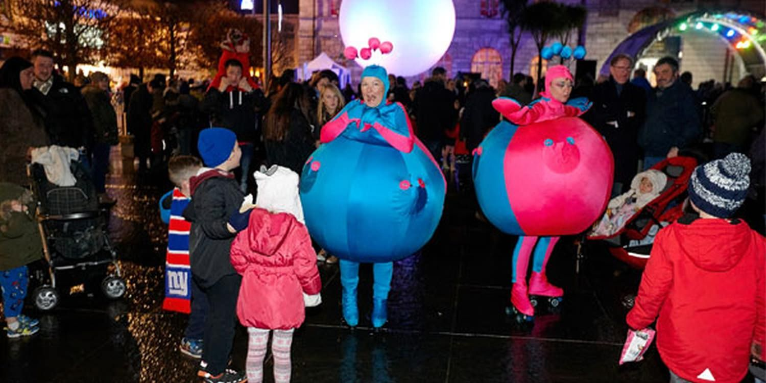 Skating Baubles Delight At Christmas Light Switch On