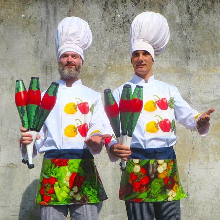 "7'6"" tall Juggling Chefs"