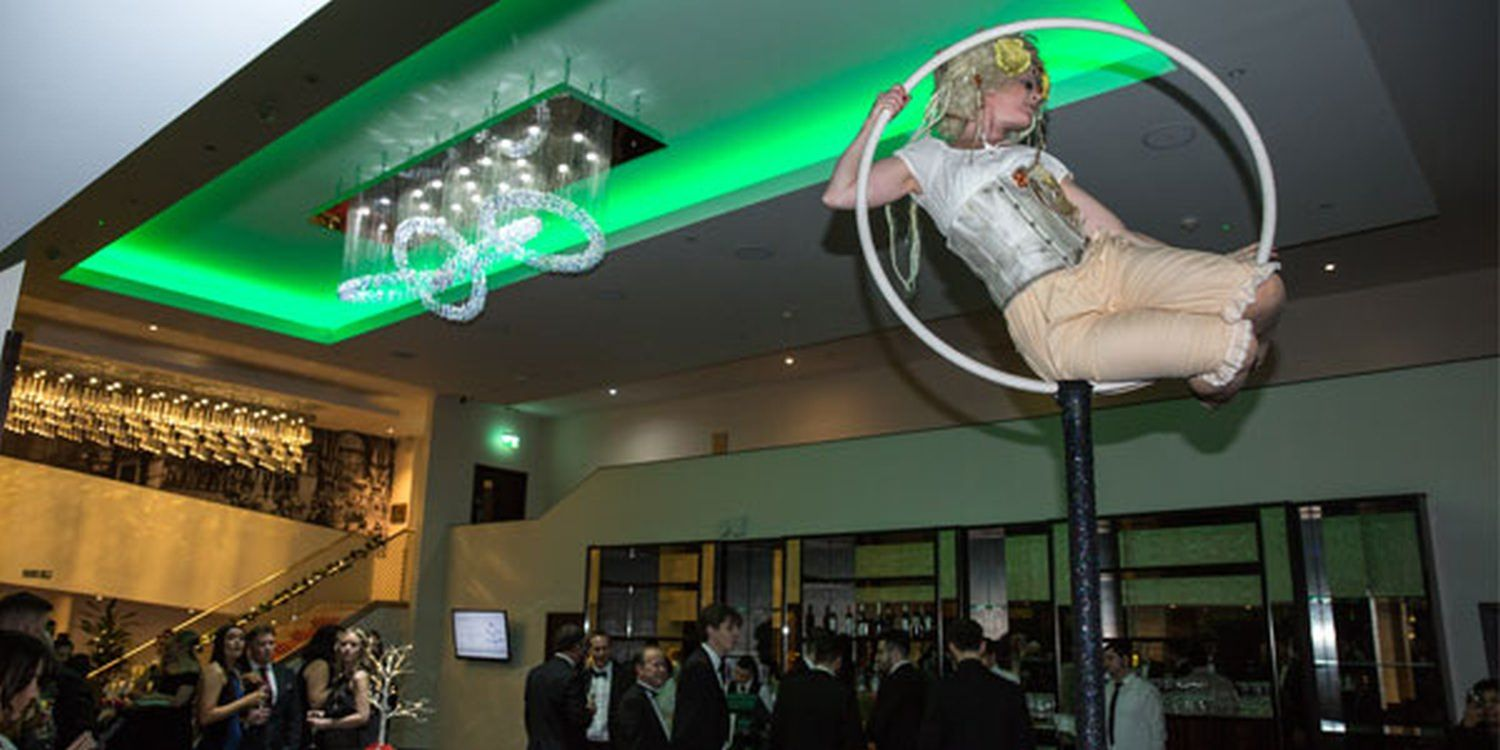 Aerial Performer Astounds At Corporate Dinner